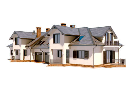 house render: 3d beautiful residential house render Stock Photo