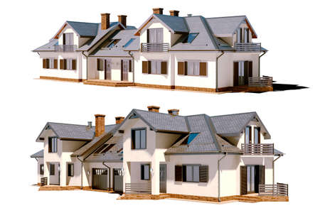 family house: 3d beautiful residential house render Stock Photo