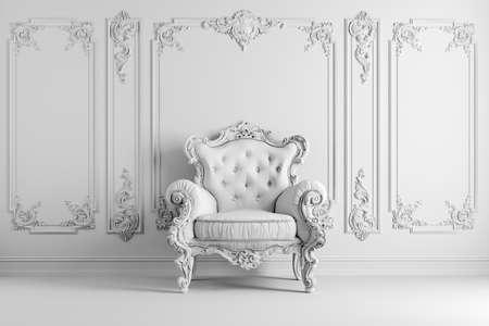 3d vintage arm chair interior render Standard-Bild