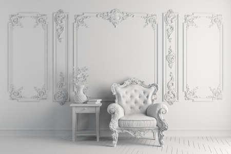 3d vintage arm chair interior render 스톡 콘텐츠