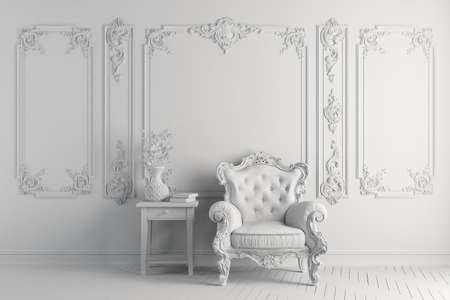 3d vintage arm chair interior render Archivio Fotografico