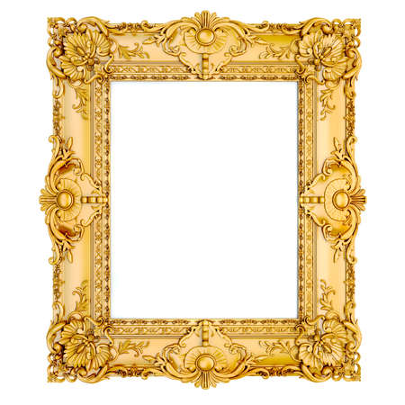 wood carving 3d: 3d golden vintage classic frame on white background Stock Photo