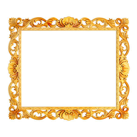 photo frame: 3d golden vintage classic frame on white background Stock Photo