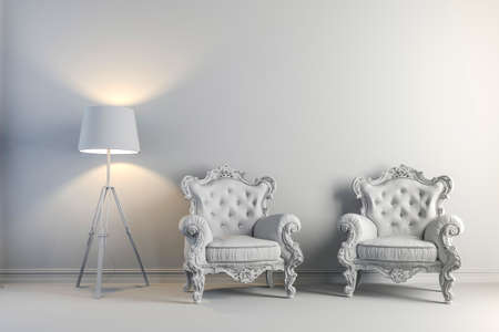 domestic room: 3d vintage arm chair interior render Stock Photo