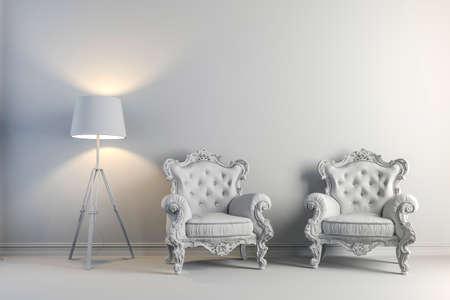 arm chair: 3d vintage arm chair interior render Stock Photo