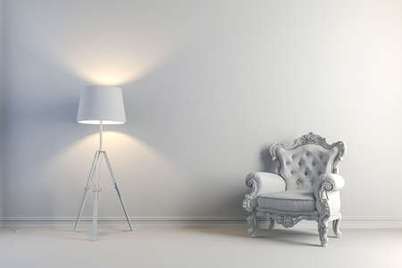 arm chair: 3d vintage arm chair interior render Stock Photo