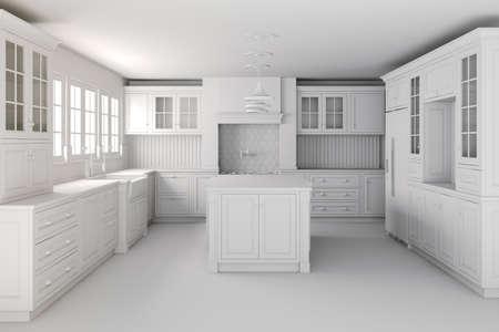 furniture detail: 3d render of beautiful classic kitchen interior