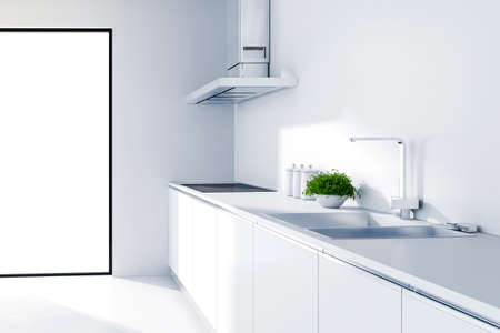 white kitchen: 3d modern white kitchen