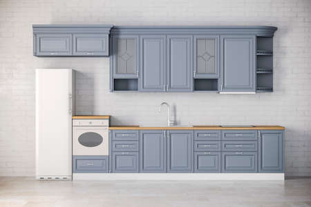 render residence: 3d render of beautiful classic kitchen interior