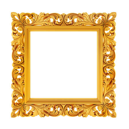 wood carving 3d: 3d gold frame on white background