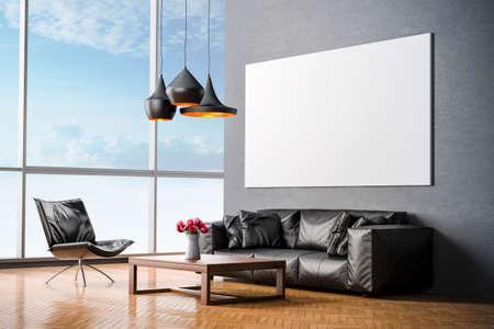 3D render van prachtige moderne interieur kamer Stockfoto