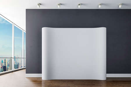 blank canvas: 3d modern interior with blank canvas poster