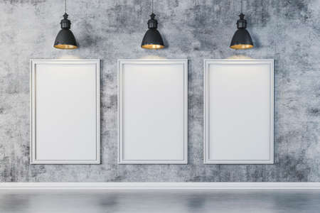 solid background: 3d bright interior setup with ceiling lamp and blank frame canvas Stock Photo