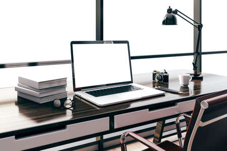 home office desk: 3d render of modern computer workplace setup