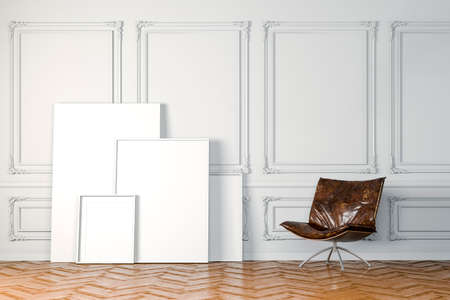 interior walls: 3d render of beautiful clean interior with white walls and blank frames Stock Photo