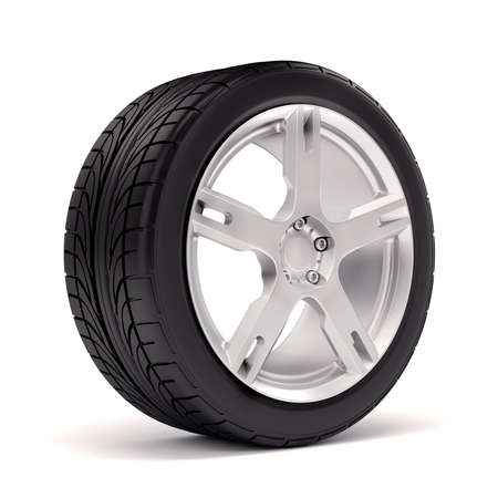 alloy: 3d tire and alloy wheel on white background Stock Photo