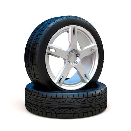 alloy wheel: 3d tires and alloy wheel on white background