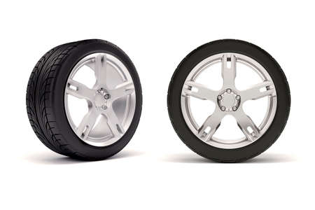 alloy wheel: 3d tire and alloy wheel on white background Stock Photo
