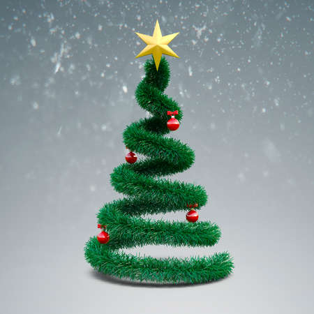 baclground: 3d Christmas tree on winter baclground