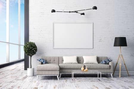 render: 3d render of beautiful interior living  design Stock Photo