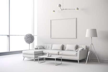 흰색 인테리어 룸 설치의 3D 렌더링 스톡 콘텐츠