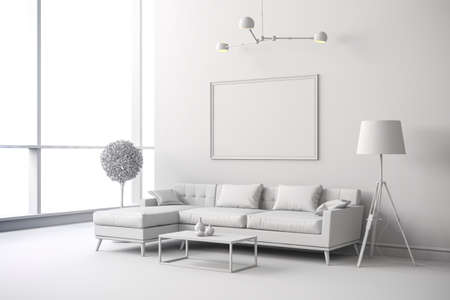 3d render of white interior room setup Фото со стока