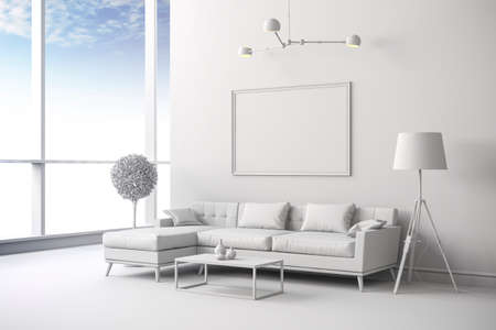 perspective room: 3d render of white interior room setup Stock Photo