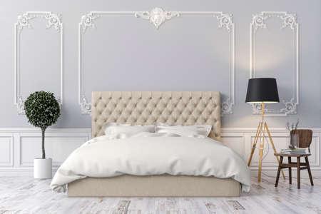 old furniture: 3d render of beautiful  bedroom