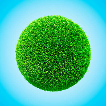 lawns: 3d grass sphere on blue background Stock Photo