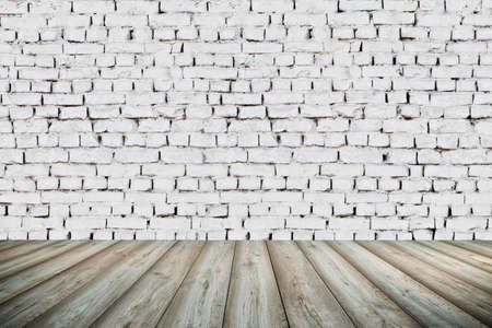 white wall: 3d interior background with white brick wall and wooden floor