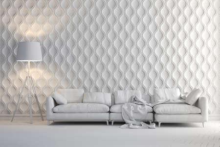 Procesamiento 3D de hermoso interior limpio con sofá y lámpara de pie Foto de archivo - 69977313