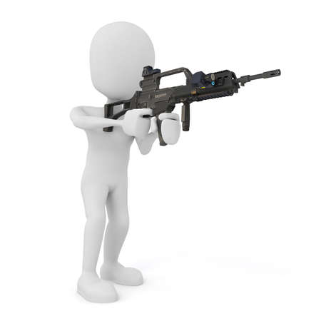 trooper: 3d man soldier with rifle on white background