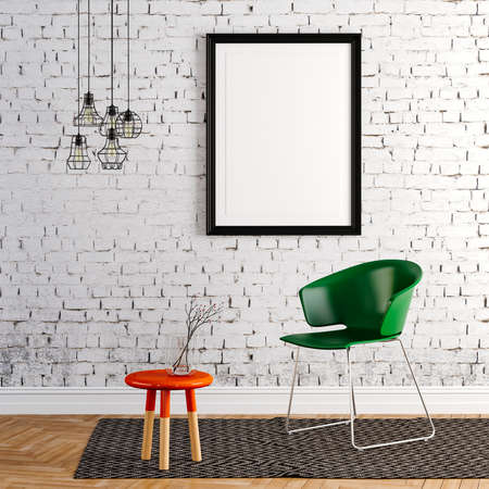 living room wall: 3d render of beautiful clean interior Stock Photo