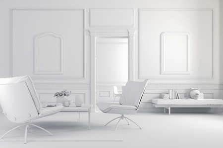 living room wall: 3d render of beautiful  interior Stock Photo