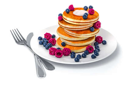 3d pancake on white background Stock Photo