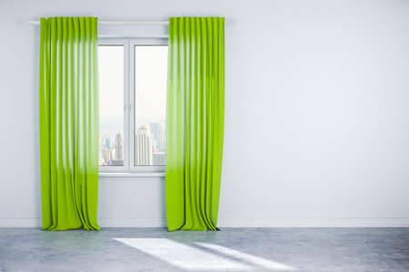 living room wall: 3d interior wall with window and curtain Stock Photo