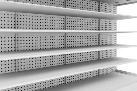 solid: 3d empty supermarket shelves