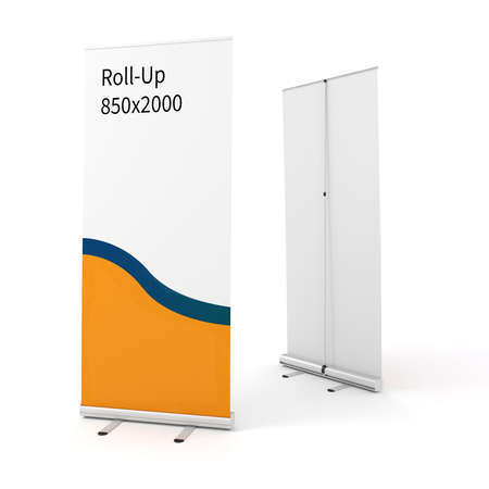 rollup: 3d roll-up on white background