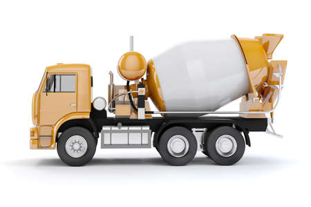 hard drive: 3d concrete mixer truck on white background