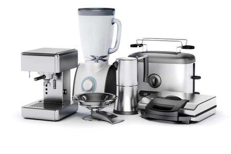 metalic: 3d set of home appliances on white background Stock Photo