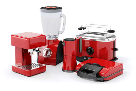 3d set of home appliances on white background Stock Photo