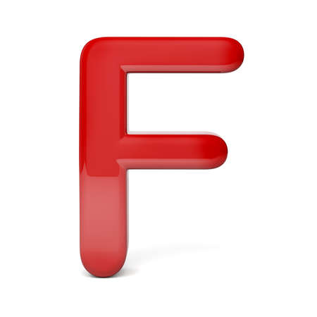 3d red, shiny letter on white background