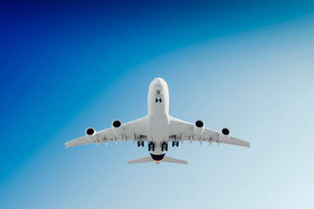 3d commercial airplane, take off against perfect clear blue sky