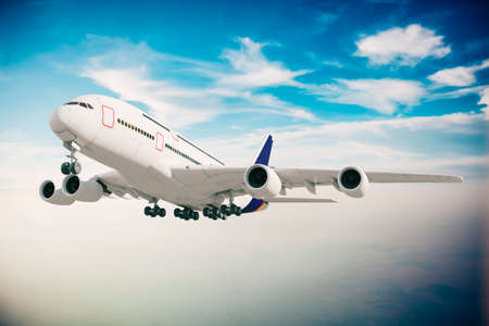 3d commercial airplane against perfect clear blue sky Stock Photo