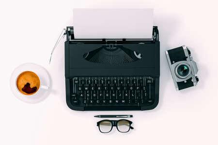 3d typewriter on white background