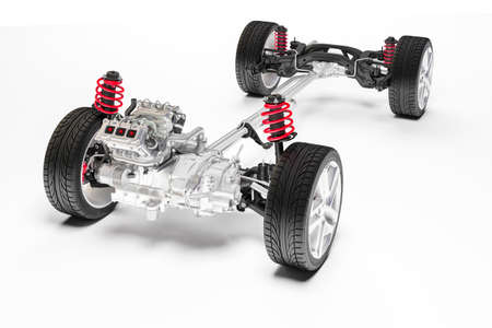 3d car chassis with motor and suspension Stok Fotoğraf