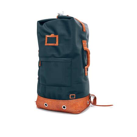 3d vintage backpack on white background 版權商用圖片