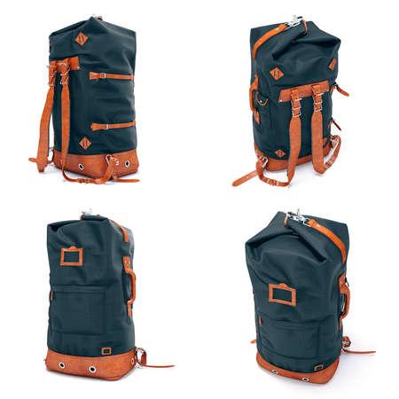 3d vintage backpack on white background
