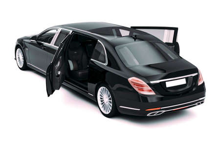 3d render of luxury limousine car