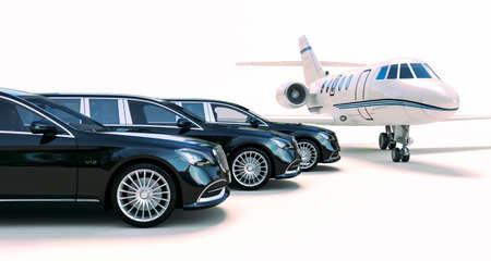 3D-Rende von Luxuslimousine und Privatjet Standard-Bild
